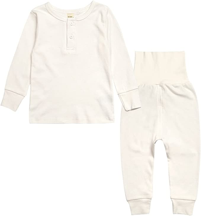 12M-14Y Leveret Boys Girls Green//Beige Striped Footed Pajama 100/%Organic Cotton
