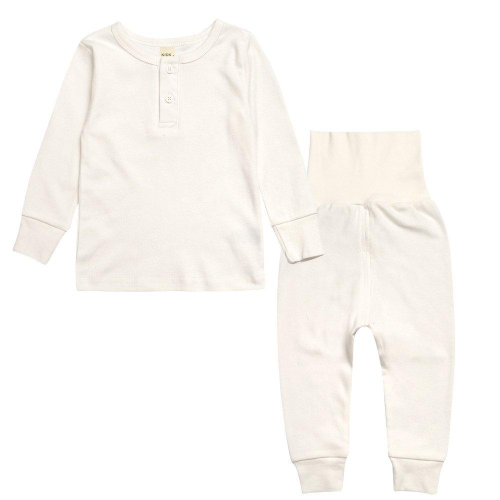 Kinder Zweiteiliger Schlafanzug, Chickwing Mädchen Jungen Unisex Langarm Hohe Taille Einfarbig Pyjama Pjs 100% Baumwolle 18 Monate-6 Jahre Höhe Größe 80~120