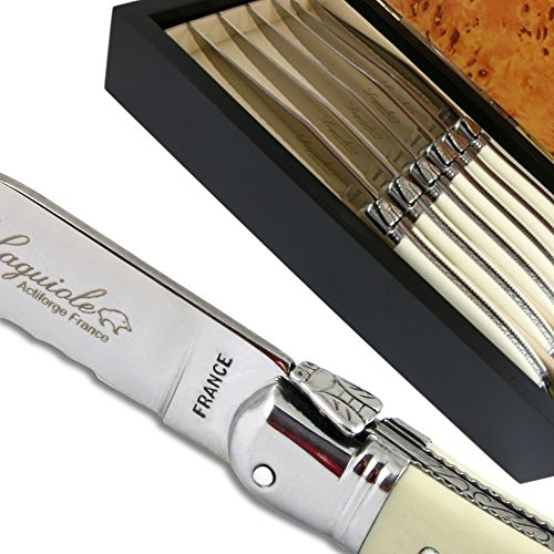 Laguiole steak knives ABS luxury white with micro-serrated-blade direct from France by Laguiole Actiforge