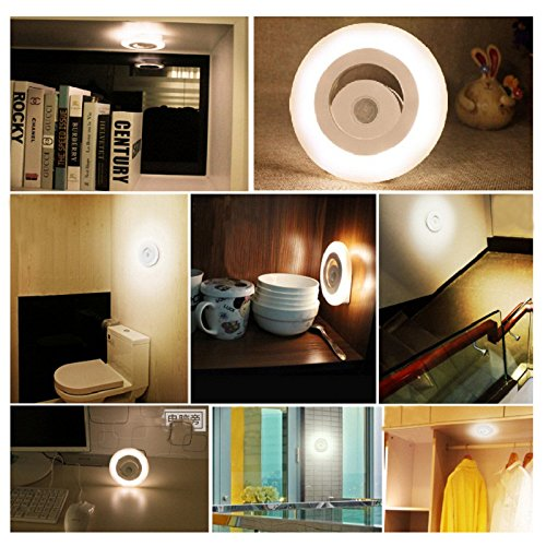 Dreamtop Motion Sensor Night Light Battery Powered Induction Lamp for Stairs Hallway Bathroom Bedroom Desk