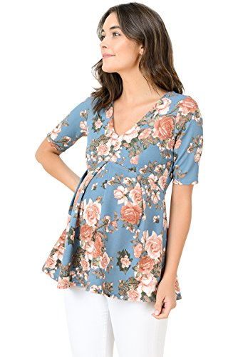 Baby Maternity Top - Hello MIZ Women's Floral and Polka Dot Pleated Peplum V Neck Maternity Top (Medium, Denim/Blush)