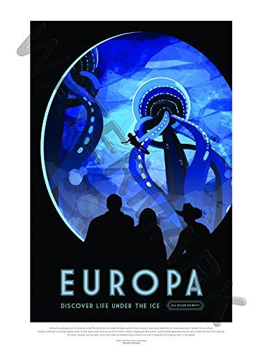 NASA Poster Space Exploration Travel Advert Europa Art Print