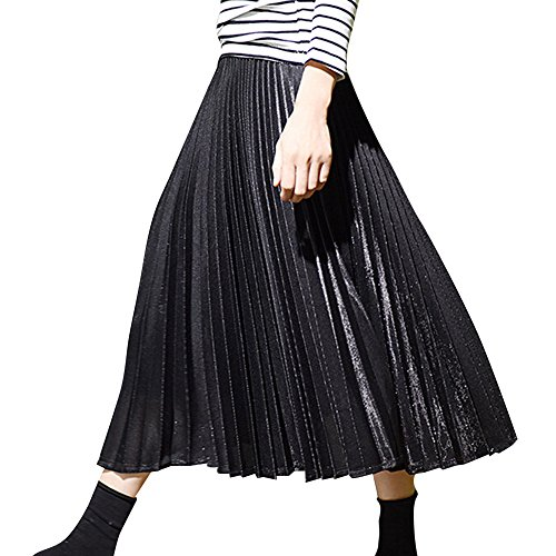 plisses Jupes Brillant Metallic Juleya Luster Retro Noir Womens qtqXwfY