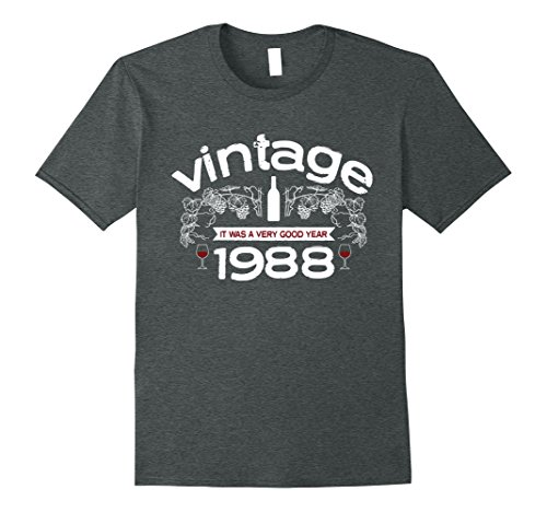 Mens Vintage 1988 Birthday shirt - Wine theme 29th birthday shirt Medium Dark Heather (Wine Theme Gifts)