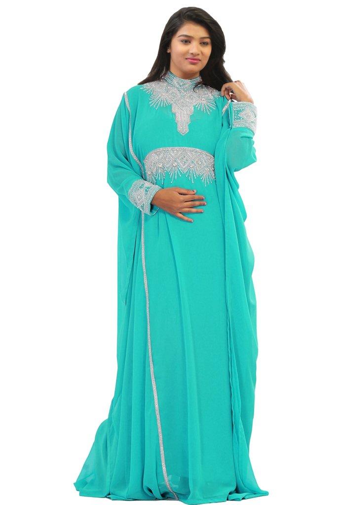 Dubai Very Fancy Kaftan Luxury Crystal Beaded Caftan Abaya Wedding Dress (XXXXL Blue)