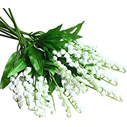 Mona's Artificial Lily of the Valley Flowers Arrangement bundle for Wedding Bouquet Home decor Pack of 12 White