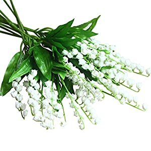 Mona's Artificial Lily of the Valley Flowers Arrangement bundle for Wedding Bouquet Home decor Pack of 12 White 18