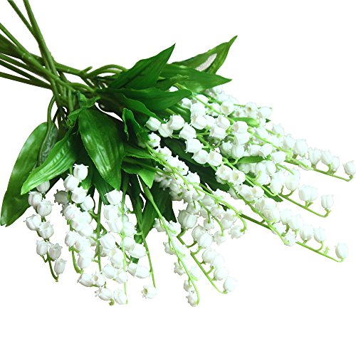 Valley Lily The Of Bouquet (Mona's Artificial Lily of the Valley Flowers Arrangement bundle for Wedding Bouquet Home decor Pack of 12 White)