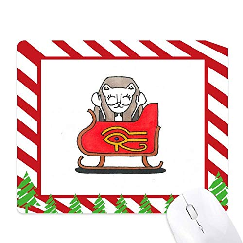 Bastet Egypt Christmas Sled Mouse Pad Candy Cane Rubber Pad Christmas Mat