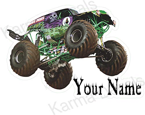 Your name MUDDY Grave digger jumping over name 3D Wall Decal Sticker 18