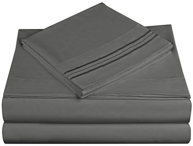 Embroidered Microfiber Sheet Set - Queen, Gray