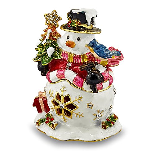 (Jere Luxury Giftware Bejeweled Holly Jolly Snowman, Pewter with Enamel Collectible Trinket Box with Matching Pendant Necklace)