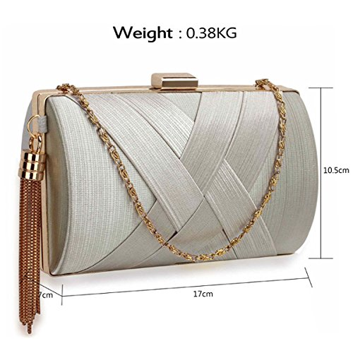 Xardi London clutch rigida da donna, compatta, in raso, misura media, adatta per spose, balli, serate. Silver Style 2