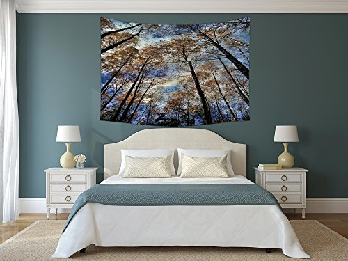 Polyester Tapestry Wall Hanging,Fantasy House Decor,Tree Tops Against the Sky Majestic Pines Scary Radiant Nature View Tranquil Print,Blue Brown,Wall Decor for Bedroom Living Room Dorm - Radiant Rod Pocket