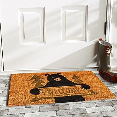 "Calloway Mills Bear Greeting Doormat, 17"" x 29"", Natural/Green/Black"