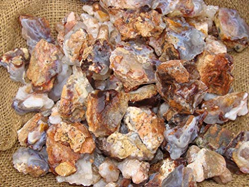 (1 Pck of 1000 Carat Lots of Unsearched Natural Fire Agate Rough + a Free Faceted Gemstone)
