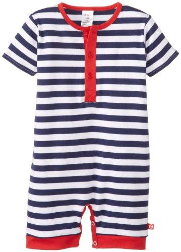 Zutano Baby Boys Primary Stripe Henley Bodysuit, Navy White, 12 Months