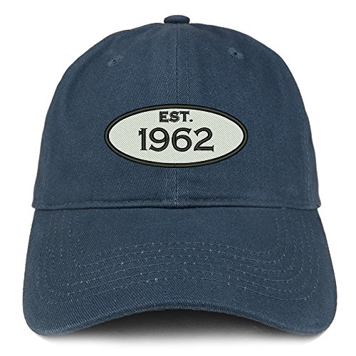 Trendy Apparel Shop Established 1962 Embroidered 56th Birthday Gift Soft Crown Cotton Cap - Navy
