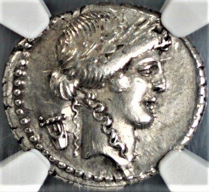 IT 42 BC Ancient Rome Roman Republic Denarius Authentic Antique Silver Coin, Coins Rare, Lyre AR Denarius Choice Extremely Fine NGC