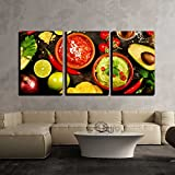 wall26 - 3 Piece Canvas Wall Art - Mexican Food Concept: Tortilla Chips, Guacamole, Salsa, Tequila Shots - Modern Home Decor Stretched and Framed Ready to Hang - 24''x36''x3 Panels