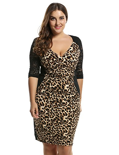 Leopard Wrap Dress (Meaneor Women's Deep-V Neck Ruffles Floral Lace Fitted Retro Evening Pencil Dress (X-Large,)
