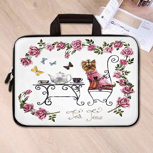 Yorkie Large Capacity Neoprene Laptop Bag,Yorkshire Terrier in Pink Dress Having a Tea Party Tea Time Butterflies Roses Decorative for 10 Inch to 17 Inch Laptop,12.6''L x 9.4''W x 0.8''H