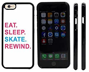 Rikki KnightTM Eat Sleep Skate Rewind Pink & Blue Design iPhone 6 Case Cover (Black Rubber with front bumper protection) for Apple iPhone 6 by mcsharks