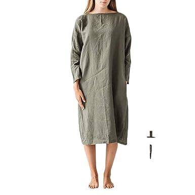 d5c6133468d Woman s Cotton and Linen with Pocket Dress Ninasill Monochrome Long Sleeve  T-Shirt