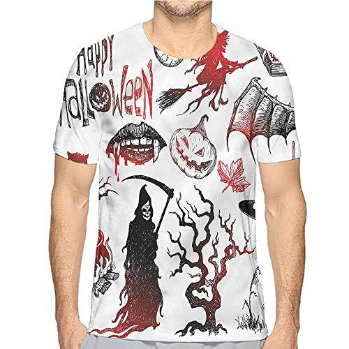 Jinguizi Mens t Shirt Halloween,Spooky October Holiday HD Print t Shirt XXL