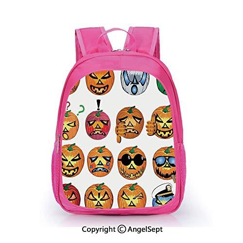 Children Schoolbag Cute Animal Cartoon Custom,Carved Pumpkin with Emoji Faces Halloween Humor Hipster Monsters Art Orange,15.7inch,Fashion Lightweight School Backpack]()