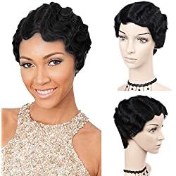 WIGNEE Remy Human Hair Wigs Mommy Short Finger Wave Style (Black)