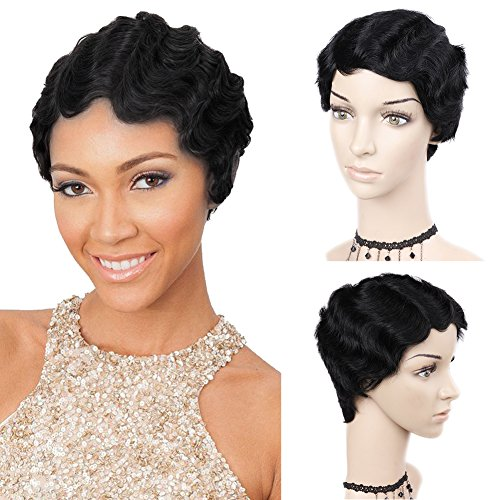 WIGNEE Remy Human Hair Wigs Mommy Short Finger Wave Style (Style Finger)