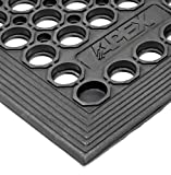 """NoTrax T30 General Purpose Rubber Competitor Safety/Anti-Fatigue Mat, for Wet Areas, 3' Width x 3' Length x 1/2"""" Thickness, Black"""