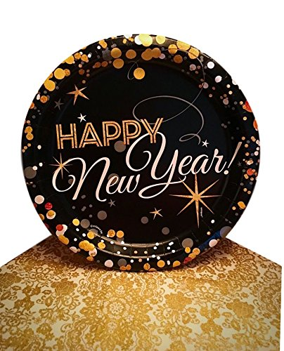 Happy New Year's Eve Glitz and Glamour Dinner Paper Plates and Napkins