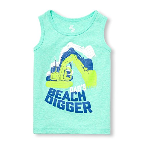 The Children's Place Boys' Baby Graphic Tank Top, Island Aqua NEON 01753, 12-18MOS
