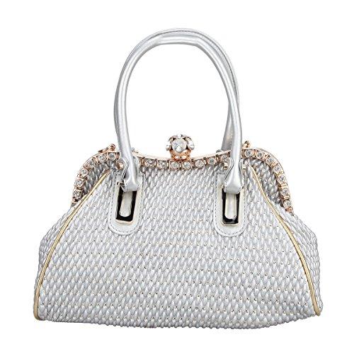 Fawziya Spherical Crystal Ball Women Handbags Pu Leather Tote Shoulder Bags-Silver
