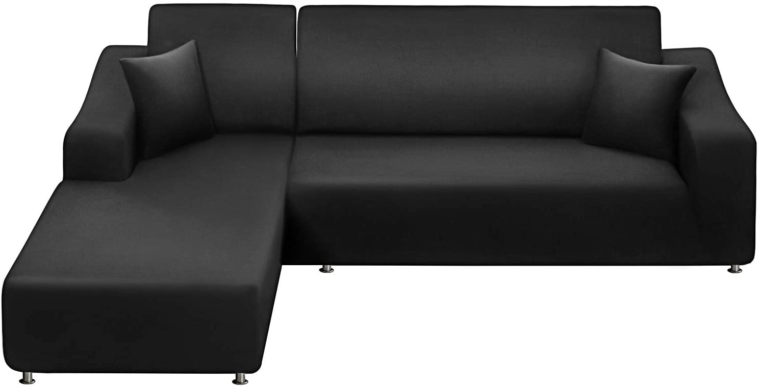 LA MEACK Sofa Slipcover 3 Seats +3 Seats,Sectional Couch Covers 2-Piece, L-Shaped Sofa Covers Reversible Sofa Cover Furniture Protector Stretch Couch Slip Cover with 2 pcs Pillow Covers , Black