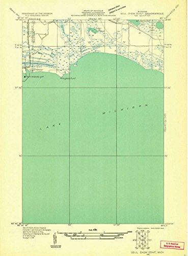 YellowMaps Seul Choix Point NE MI topo map, 1:31680 Scale, 7.5 X 7.5 Minute, Historical, 1931, 21.7 x 16 in - Polypropylene