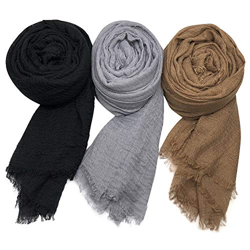 eb0675aa2ed69 Axe Sickle Scarf Wrap Shawl Cotton Hemp Soft Outdoor Beach for All Seasons  Wrap 3PCS Women