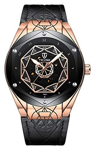 Transparent Watch Gold (Sport Waterproof Automatic Mechanical Watch Men Luminous Leather Strap Reinforced Glass Wrist Watch (Rose Gold Black))