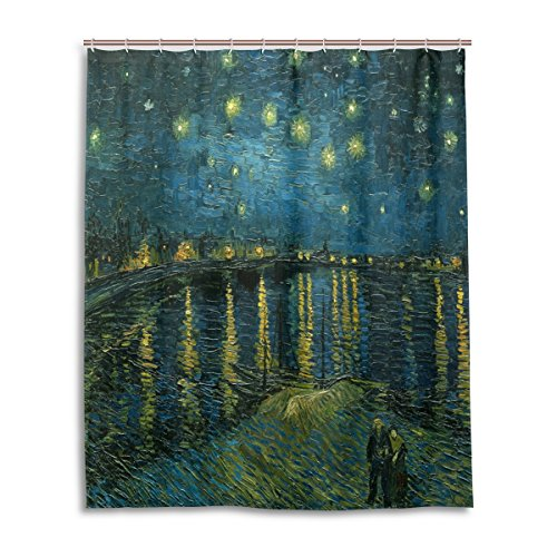 (WIHVE Shower Curtain Van Gogh Starry Night Over The Rhone Polyester Fabric Curtains Bathroom Decor Set with 12 Pieces Hooks, Bathroom Accessories Size 60