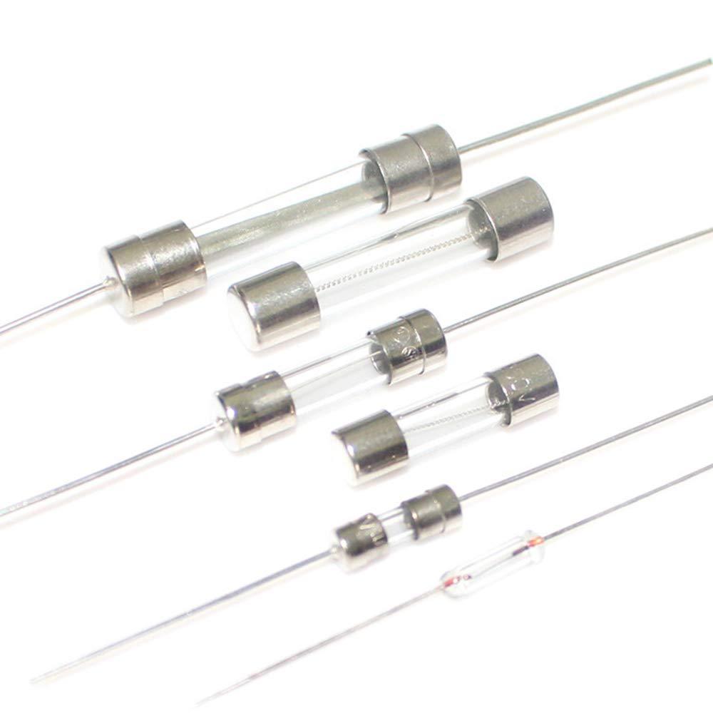 0.5A 8A 10A 0.2A Fliyeong Kit Surtido de fusibles de Tubo de Vidrio de soplado r/ápido de 100 Piezas 3A 1A 15A 2A 5A 6A
