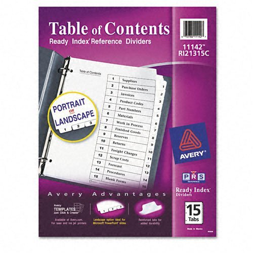 Avery - Ready Index Classic Tab Titles, 15-Tab, 1-15, Letter, Black/White, 15 per Set - Pack of 30