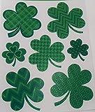 St. Patrick's Day Reusable Glitter Window Clings ~ Patterned Shamrocks (7 Clings, 1 Sheet)