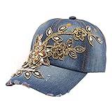 BCDshop Women Rhinestone Flower Baseball Cap Summer Lady Blue Retro Denim Hats (D)