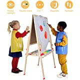 Kids 3 in 1 Wooden Art Easel, Multi-functional Adjustable Double Side Kids Painting Board Blackboard Whiteboard Chalkboard Magnetic Letter Drawing Board Stand for Children with Paper Roll Holder