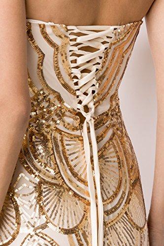 Gold Abendkleid Bandeau Glamorous Rücken Corsagen am Beige mit CqnvwO