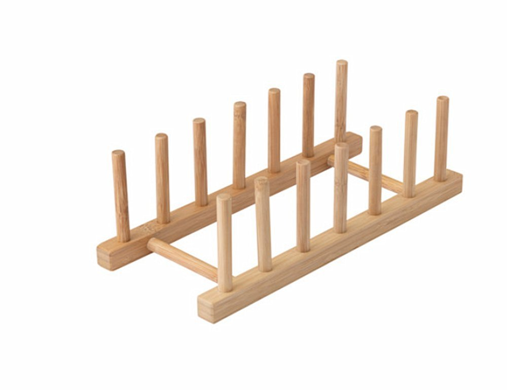 OSTBIT Plate Rack-holder Kitchen Cabinet and Pantry Organizer Rack, 6 Compartments,Pot Lid Holder or bookshelf 11 -inches bamboo