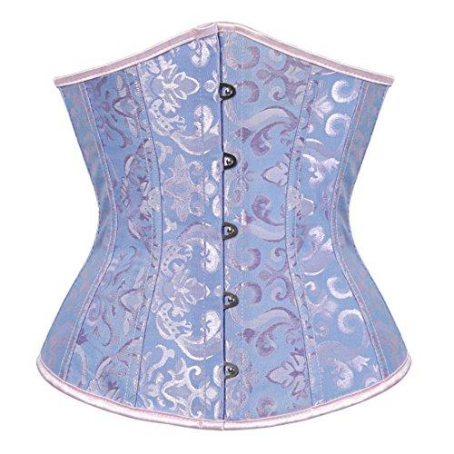 Zhitunemi Women's Lace Up Boned Jacquard Brocade Waist Training Underbust Corset Lingerie 2X-Large - Lace Blue Corset Up