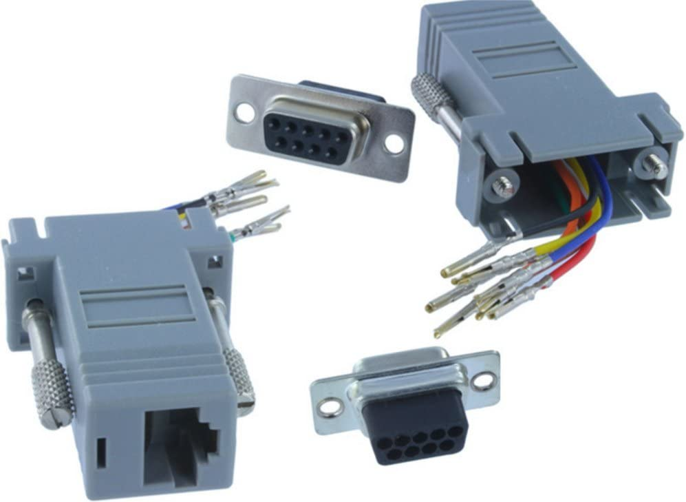 9 Pin DB9 RS232 Female to RJ45 8P8C Network Female Socket Adapter Connecter